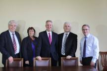 Meeting Shadow Secretary of State for Northern Ireland, Ivan Lewis MP,with Alex Attwood, Fearghal McKinney and Dolores Kelly.